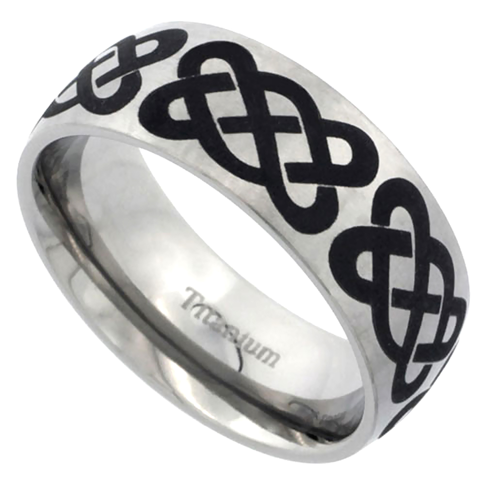 Titanium 8mm Wedding Band Celtic Knot Ring Domed Brushed Finish Comfort Fit, sizes 7 - 14