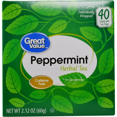 (4 Boxes) Great Value Peppermint Herbal Tea Bags, 2.12 oz, 40 -