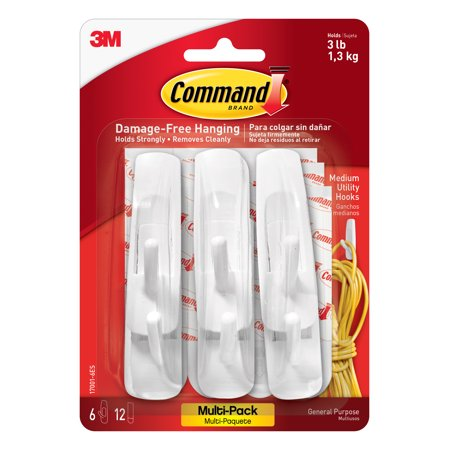 Command Hooks Value Pack, White, Medium, 6 Hooks, 12 Strips/Pack