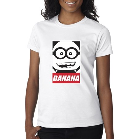 New Way 630 - Women's T-Shirt Minions Banana Bob - Pink Minion