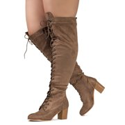 """""""Wide Calf"""" Women's Block Heel Lace Up Over The Knee Riding Boots #19151"""
