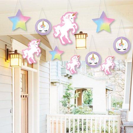 Hanging Rainbow Unicorn - Outdoor Magical Unicorn Baby Shower or Birthday Party Hanging Porch & Tree Yard Decor -  10 -