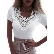 Women Casual Tank Crop Tops Vest Blouse Lace Crochet Short Sleeve T-Shirt Summer Slim Fit Blouse S-5XL