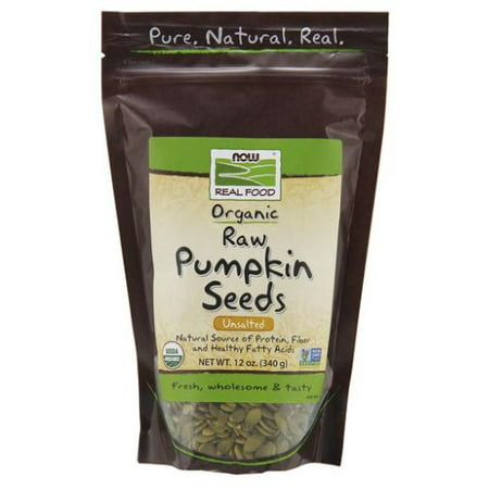 NOW Foods Real Food Certified Organic Pumpkin Seeds Unsalted 12 oz