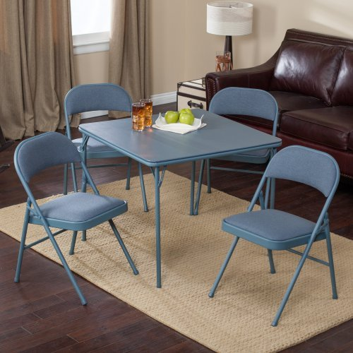 Meco Sudden Comfort Deluxe Double Padded Chair and Back- 5 Piece Card Table Set - Cadet Blue