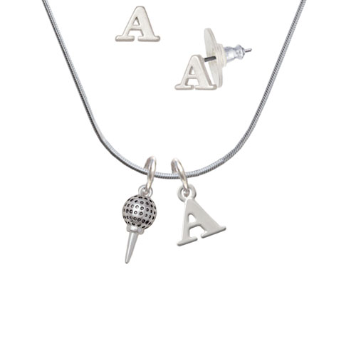 Small Golf Ball on Tee A Initial Charm Necklace and Stud Earrings Jewelry Set by Delight and Co.