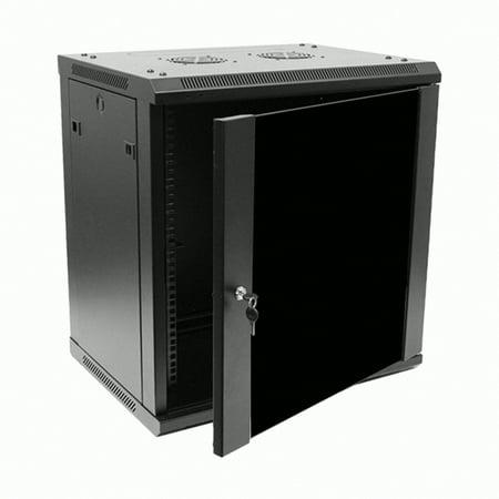 Navepoint 12U Deluxe IT Wallmount Cabinet Enclosure 19-Inch Server Network Rack With Locking Glass Door 16-Inches Deep Black