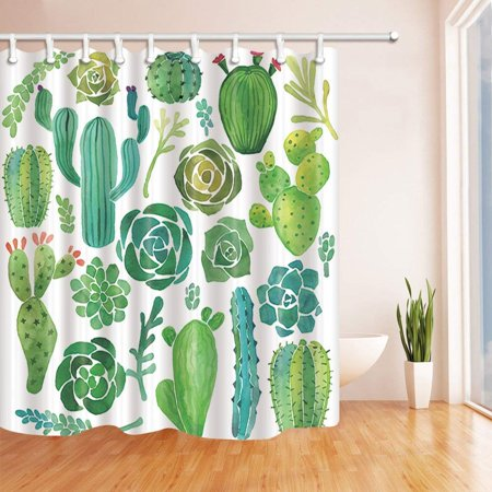 BSDHOME Tropical Plants Decor Watercolor Cactus Flowers Succulent in White Polyester Fabric Bathroom Shower Curtain 66x72 inches - image 1 of 1