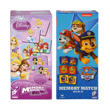 Mozlly Disney Princess and Nickelodeon Paw Patrol Memory Match Games (36pc Sets) Childrens Early Development Toys