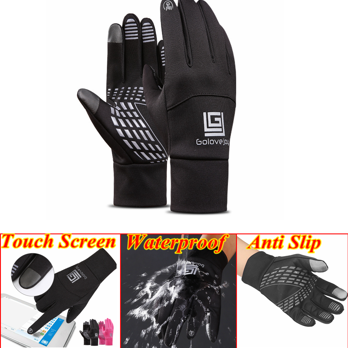 Protective Touch screen Cycling Anti Slip Water proof Sports Warm Gloves Men Wom
