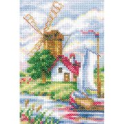 "Tulip Time Windmill Counted Cross Stitch Kit-3.5""X6"" 14 Count, Pk 1, RTO"