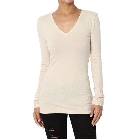 TheMogan Women's Basic Plain Solid V-Neck Long Sleeve T-Shirt Stretch Cotton Tee