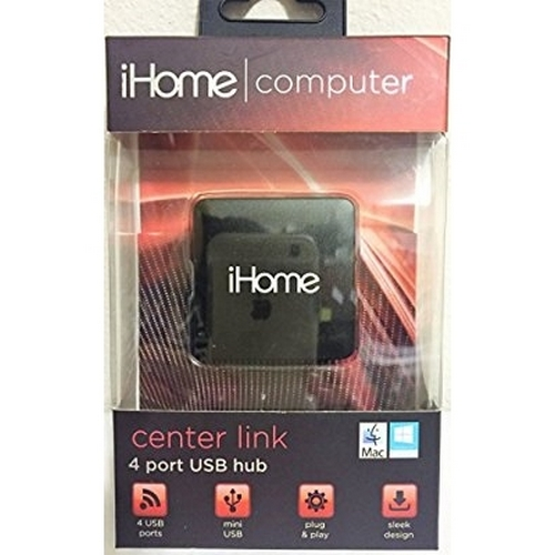 Refurbished iHome - 4 Port Travel USB Hub (Black)