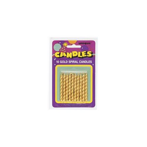 Unique Industries 1943 10 count Gold Spiral Candles Pack of 12