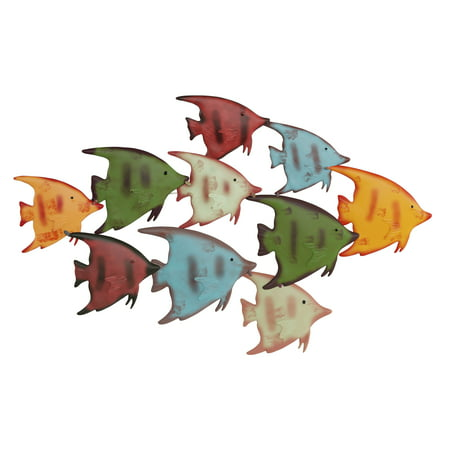 School of Fish Wall Art- Nautical 3D Metal Hanging Decor-Vintage Coastal Seaside Inspired Style-Under Water Sea Life Ocean Home Artwork by Lavish Home