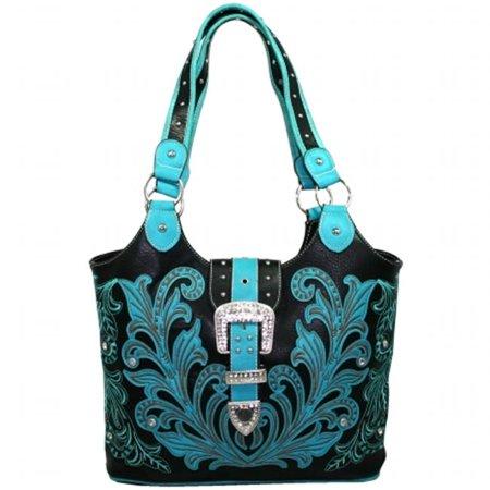 BT951-TQ Western Embriodered Rhinestone Buckle Accent Purse Handbag, Turquoise