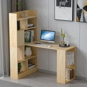 Wood Computer Desk Study Writing Desk Table Workstation Home Office Furniture with Drawers and Storage Shelves
