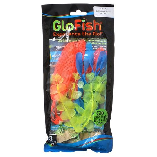 GloFish Aquarium Plant Multipack - Yellow, Orange and Blue 3 Pack - (Medium Yellow, Large Orange, Large Blue)