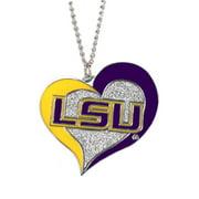 NCAA LSU Tigers Swirl Heart Necklace Charm Gift Set