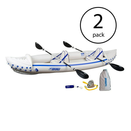 Storm Pro Paddle - Sea Eagle 370 Pro 3 Person Inflatable Kayak Fishing Boat Canoe Paddles (2 Pack)