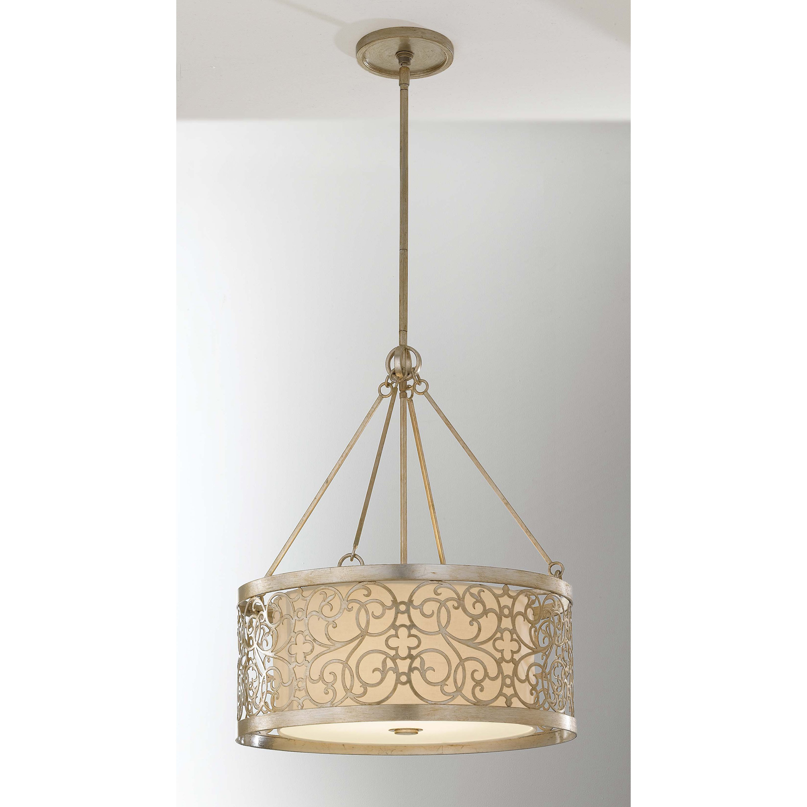 Feiss Arabesque F2537   4SLP Chandelier 23 diam. in. Silver Leaf Patina by Murray Feiss