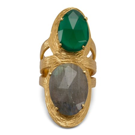 f095761a82ebc Double Stone Labradorite and Green Onyx Ring Gold-plated Sterling Silver