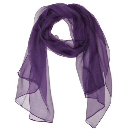 Solid Color 100% Silk Long Scarf, Majestic Purple