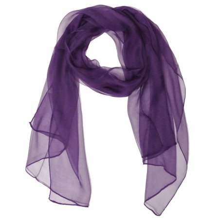 - Solid Color 100% Silk Long Scarf, Majestic Purple