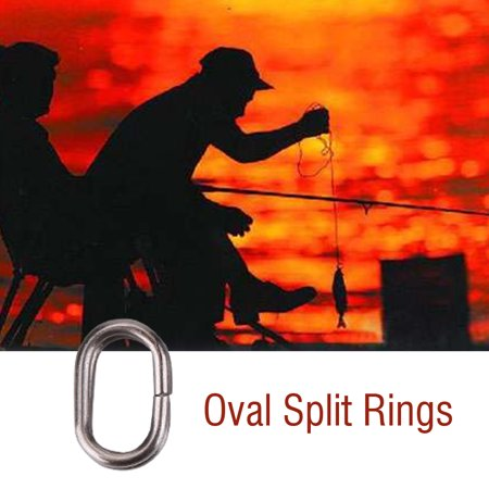HURRISE Fishing Rings,100Pcs Stainless Steel Oval Split Rings Swivel Snap Carp Fishing Tackle Connector