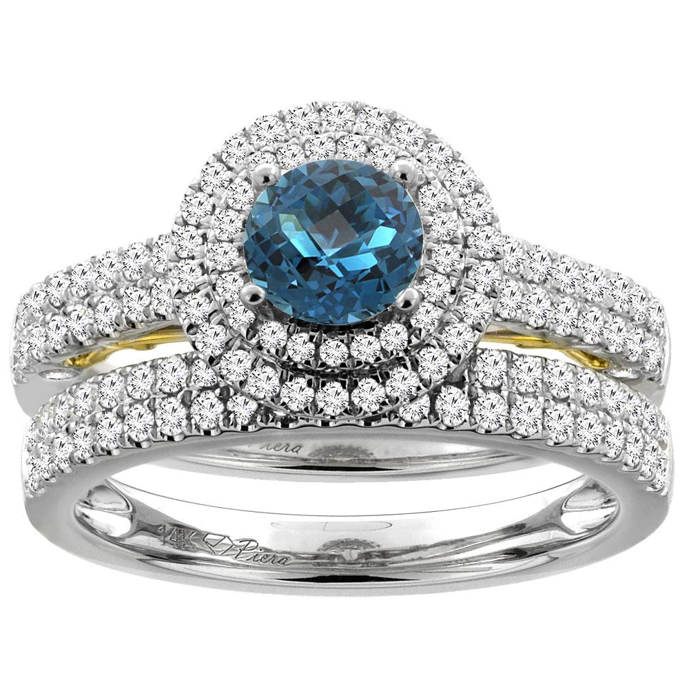 14K White Gold Diamond Natural London Blue Topaz Halo Engagement Bridal Ring Set Round 6 mm, size 5.5 by Gabriella Gold