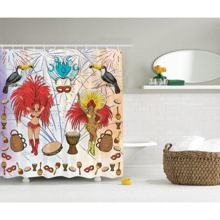 Brazilian Carnival Costumes in Rio Samba Dance Art Decoration Shower  Curtain Set