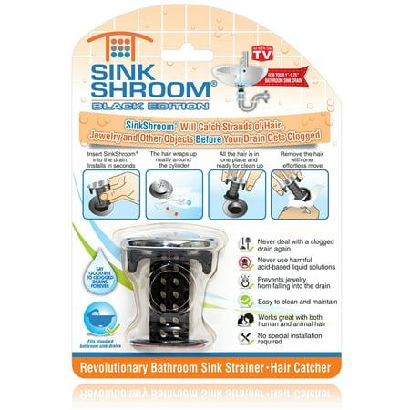 Strainer Chrome Fits 2 Drain (SinkShroom Chrome Edition Revolutionary Bathroom Sink Drain Protector Hair Catcher, Strainer, Snare,)