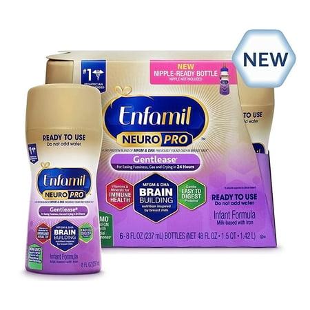 Liquid Baby Formula (Enfamil Gentlease NeuroPro Baby Formula, 6 Ready-to-Use 8 fl oz Bottles )
