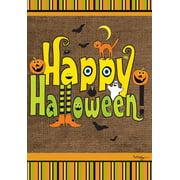 "Burlap Look Halloween Garden Flag Witch Feet Jack O-Lantern Holiday 12.5"" x 18"""