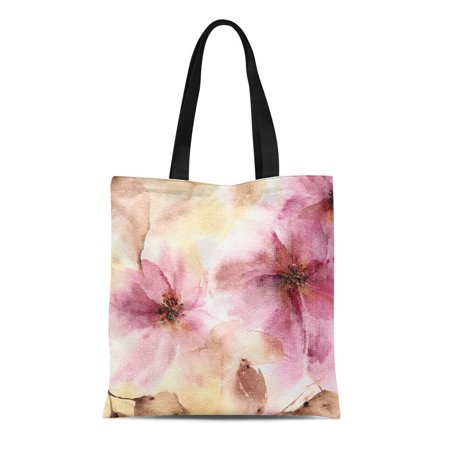 ASHLEIGH Canvas Bag Resuable Tote Grocery Shopping Bags Blue Abstract Floral Watercolor Spring Flowers Autumn Bouquet Wall Painting for Tote Bag