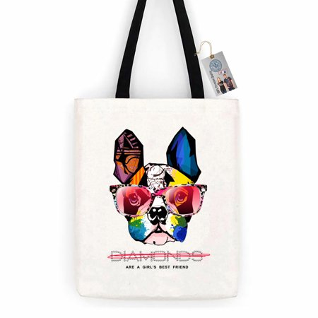 Girls Best Friend Boston Terrier Colorful Cotton Canvas Tote Bag Carry All Day