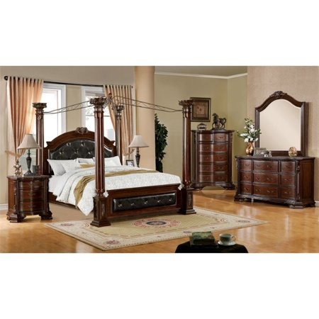 Furniture of America Luxon 4 Piece California King Canopy Bedroom Set