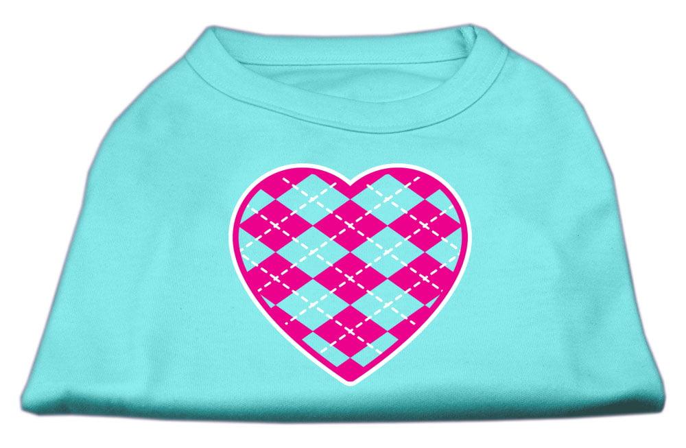 Argyle Heart Pink Screen Print Shirt Aqua Med (12