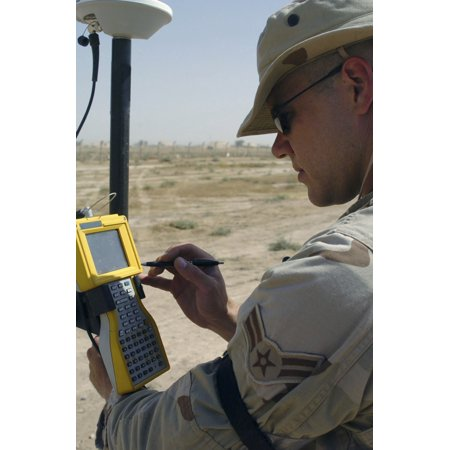 US Air Force engineer using global positioning system-based survey equipment Canvas Art - Stocktrek Images (23 x 35)
