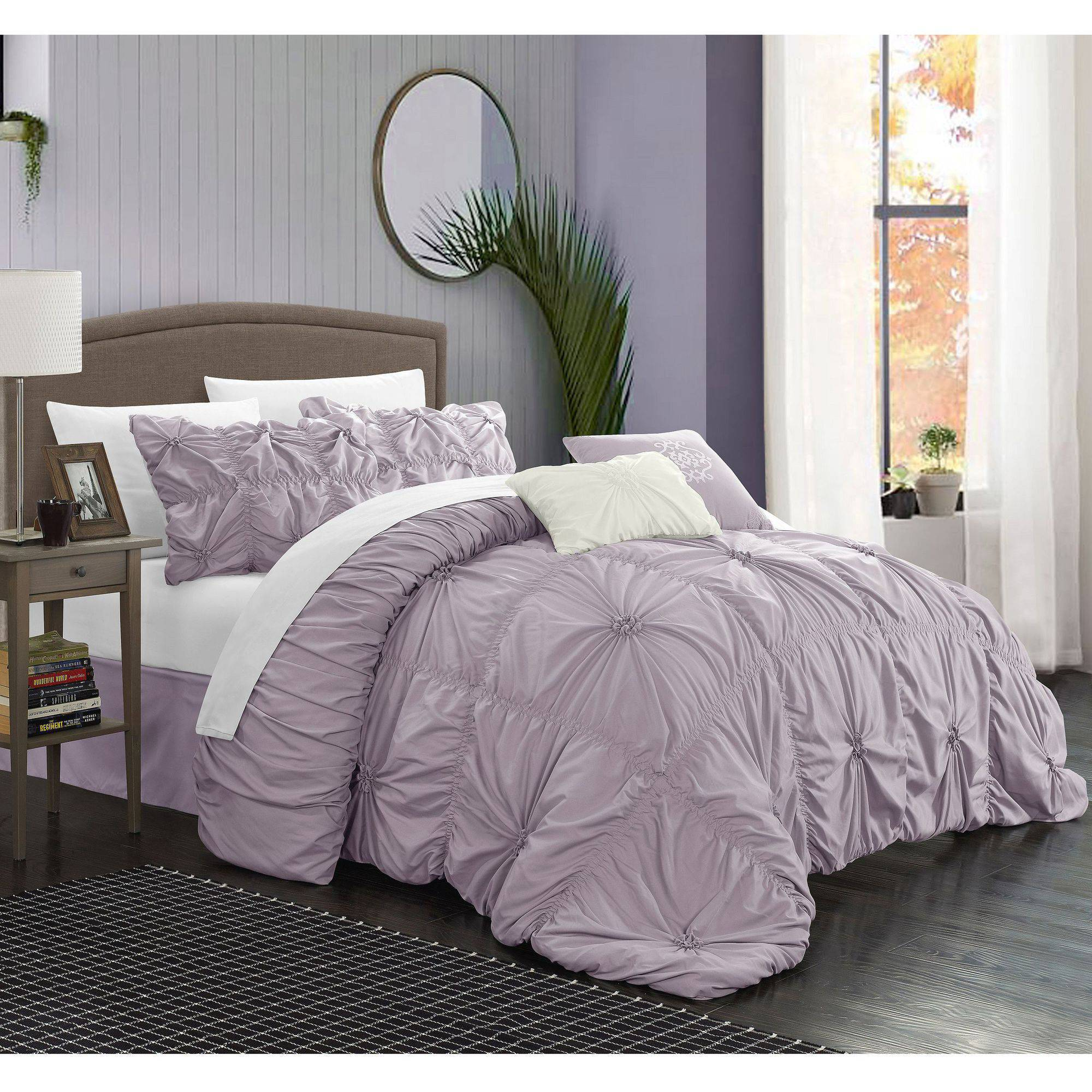 Chic Home 10-Piece Hyatt Floral Pinch Pleat Ruffled Comforter Set