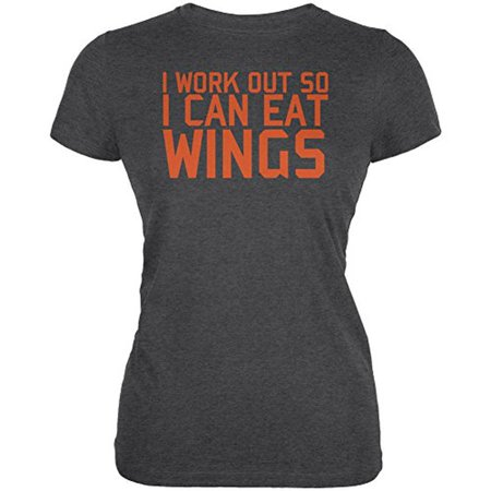 Work Out Eat Wings Juniors Soft T Shirt