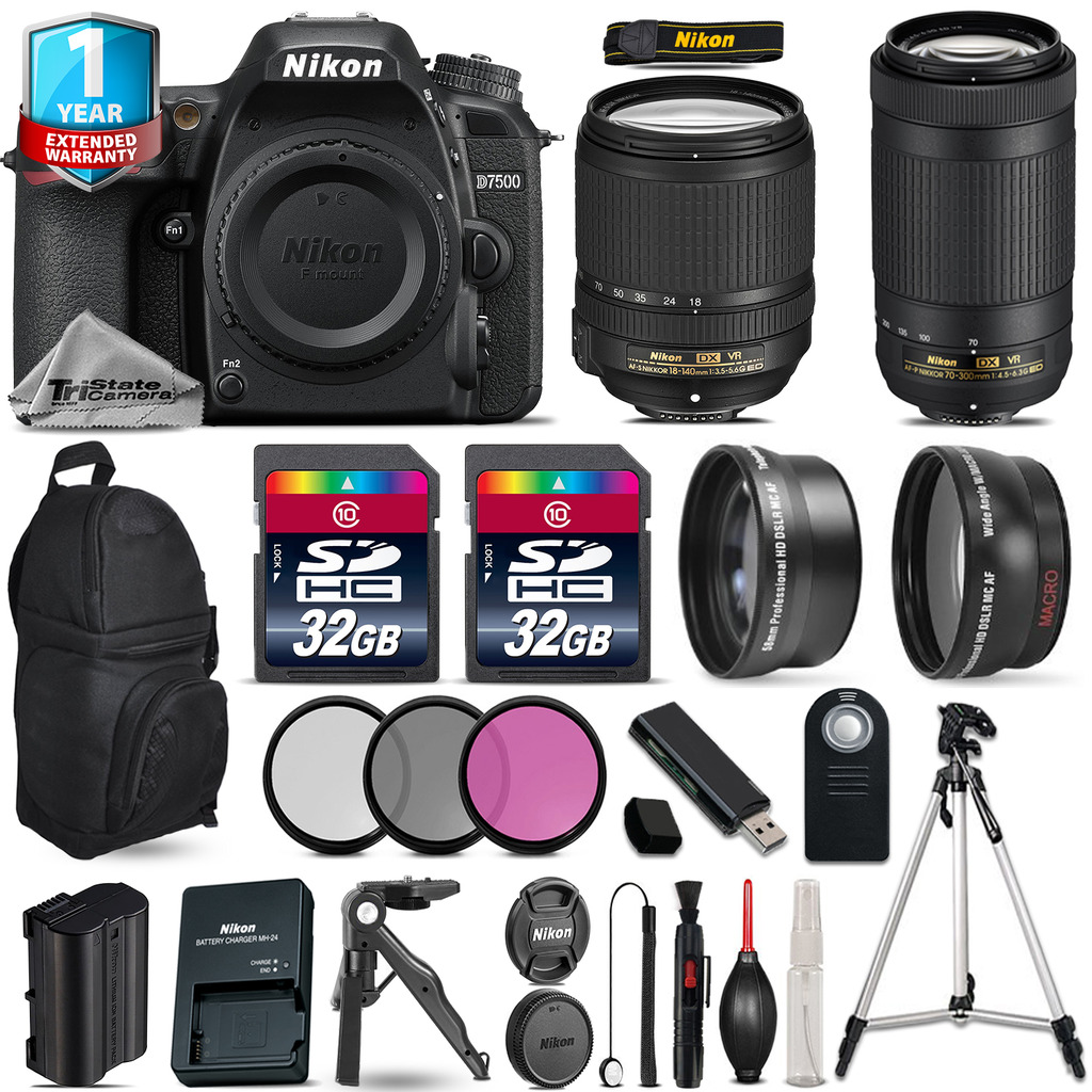 Nikon D7500 Camera + AFS 18-140mm VR + 70-300mm VR + Filter + 1yr Warranty +64GB