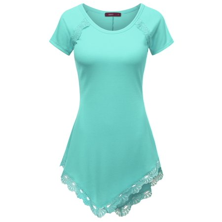 Doublju Womens Short Sleeve Round Neck Lace Heming Asymmetrical Tunic Shirts