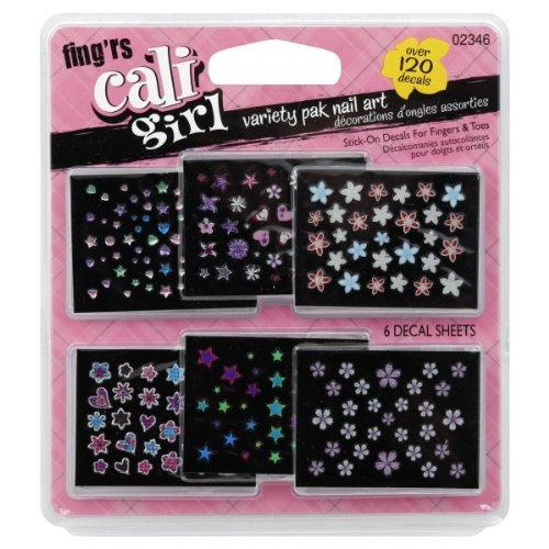 Fing'rs Cali Girl Nail Art, Stick-On Decals, Variety Pak, 6 ct.