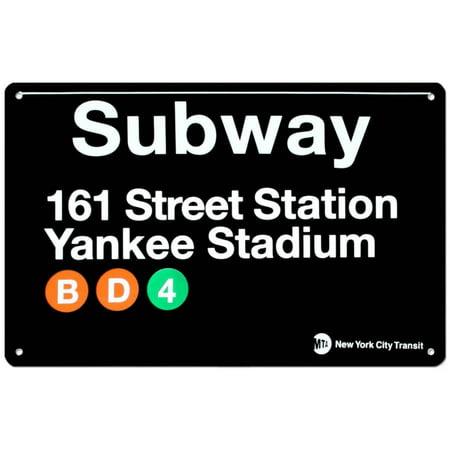 Subway 161 Street Station- Yankee Stadium Tin Sign - 17x11 (Mta Subway Sign)