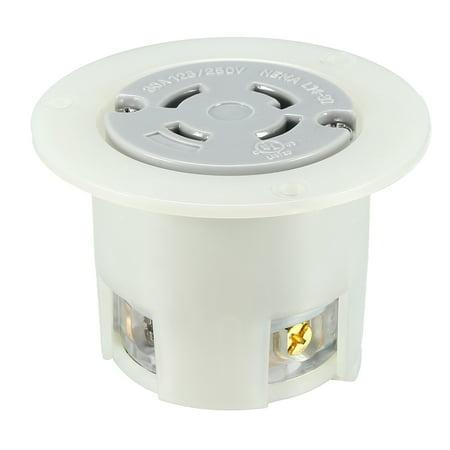 locking flanged outlet nema l14 30c 30a 125 250vac 3 pole. Black Bedroom Furniture Sets. Home Design Ideas