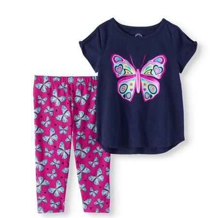 Little Girls' 4-8 Cold-Shoulder Graphic T-shirt and Capri Legging 2-Piece Outfit Set - Cop Outfits For Women