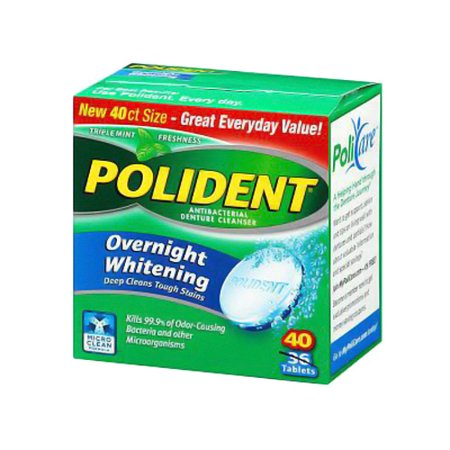 Polident Overnight Whitening Antibacterial Denture Cleanser Tablets - 40 Ea, 2