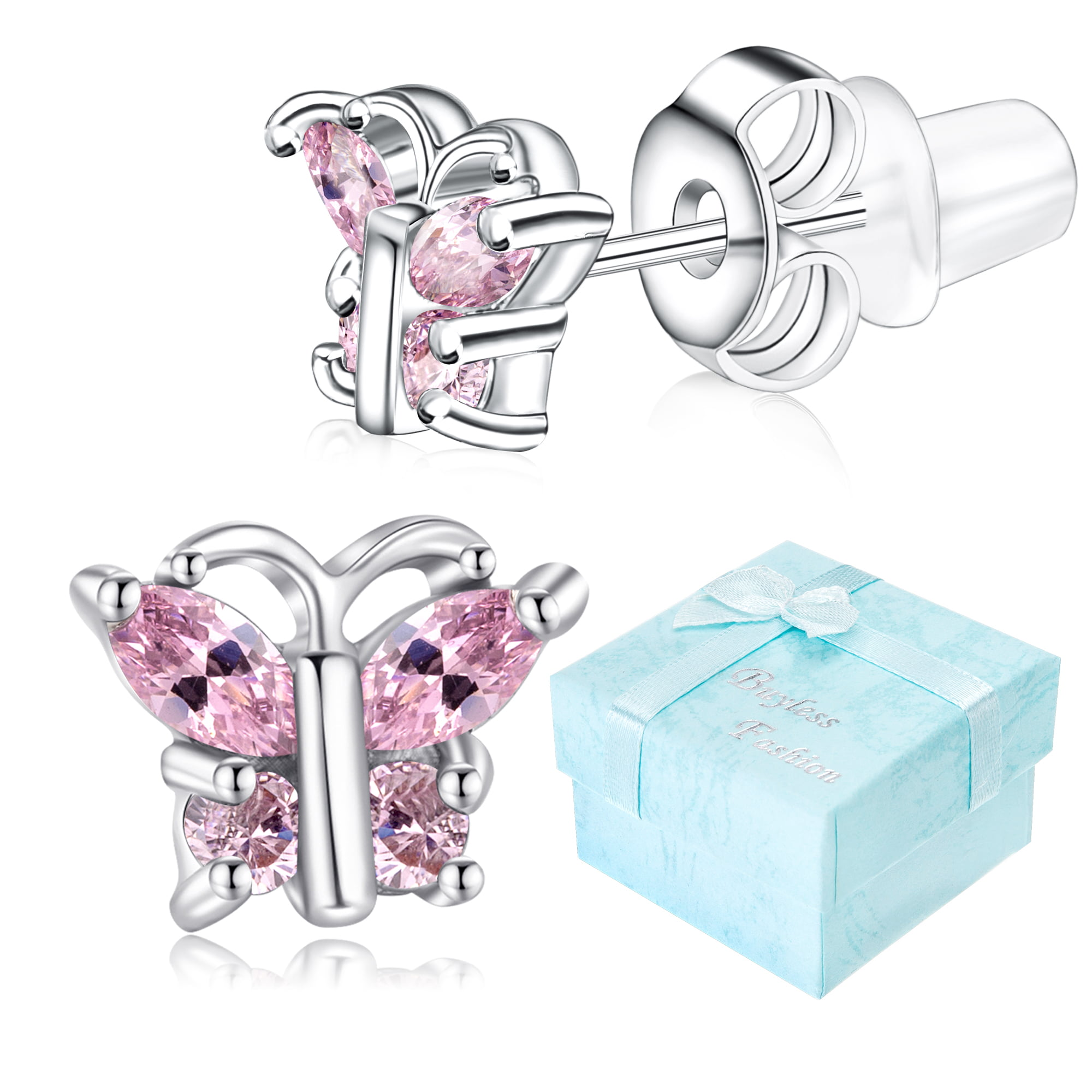 Buyless Fashion Girls Stud Earrings Crystal Zirconia Surgical Steel 5 Pair Pack