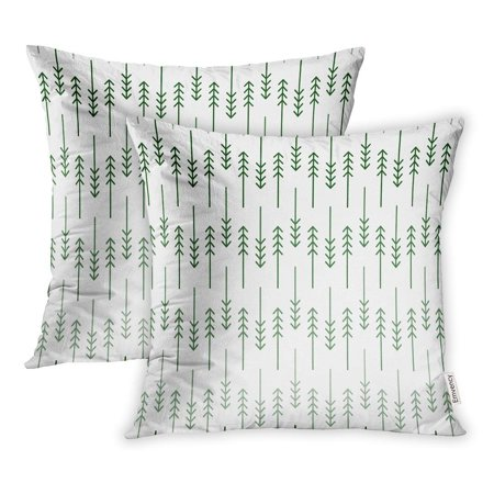 USART Scandinavian Geometric Pattern Linear Fir and Pine Trees in Shades of Green Pillow Case Pillow Cover 20x20 inch Set of 2 ()